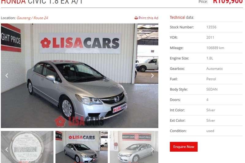 Honda Civic sedan 1.8 EXi automatic 2011