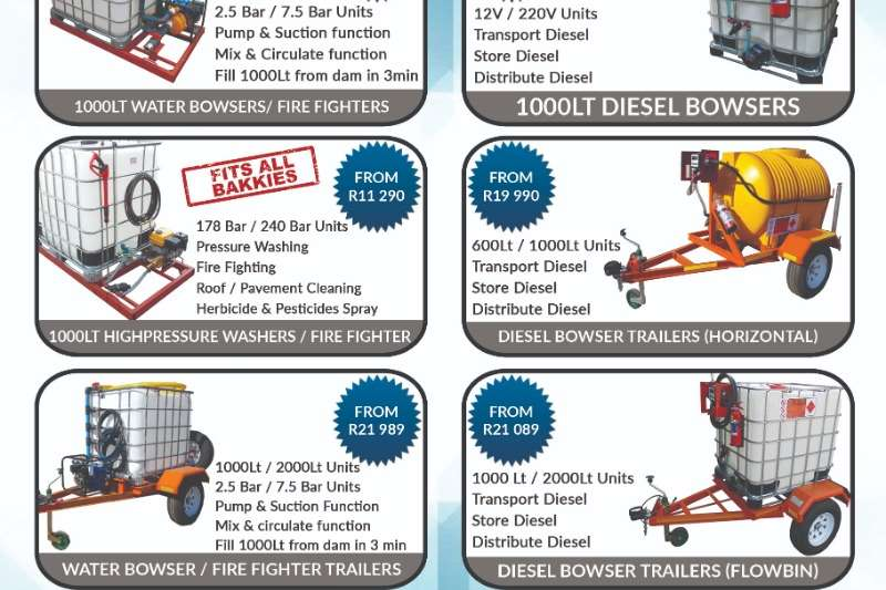 Water tankers New 1000L Water Bowsers Multi Purpose unit Agricultural trailers