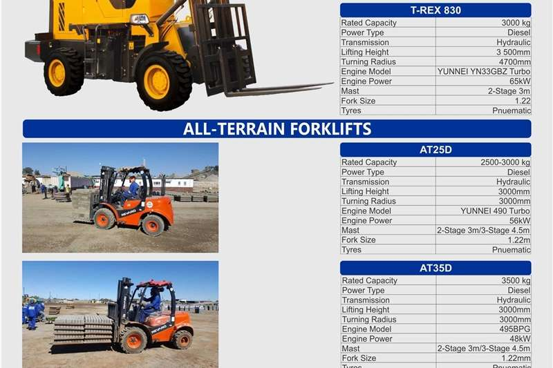 Construction Front end loaders and forklifts