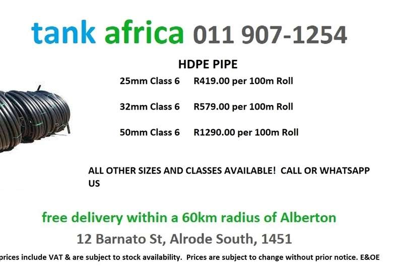 Pipes and fittings HDPE, LDPE and Drip Irrigation Irrigation