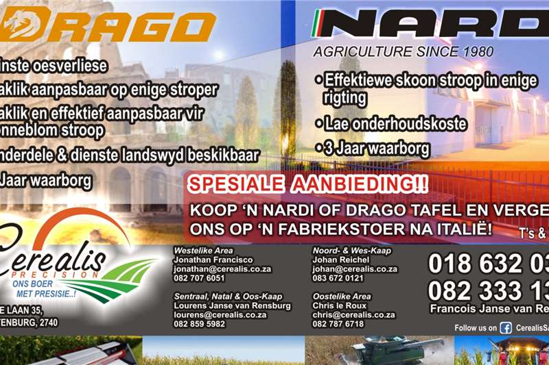 Other Harvesting equipment SPECIAL!!!! NARDI / DRAGO HEADS
