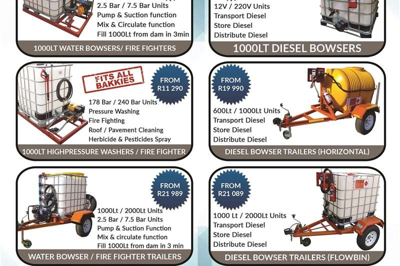NEW 1000L Water Bowsers / Fire Fighters   Multi Pu Other