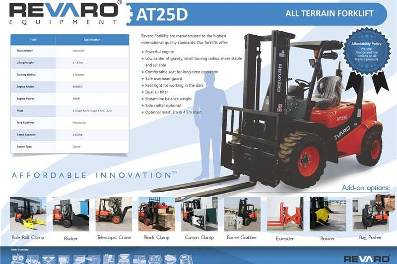 Other Revaro AT25D 2.5Ton All Terrain Forklift (2 Stage)
