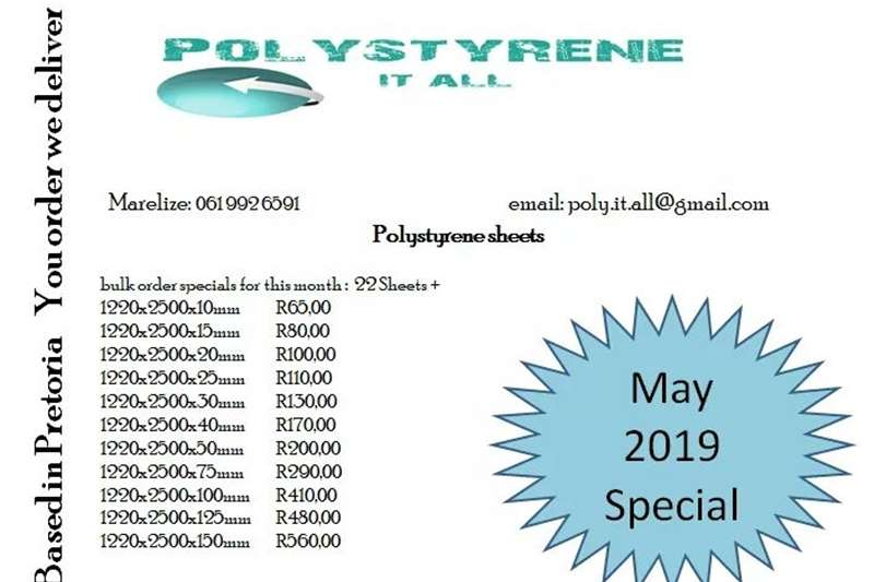 Pack house equipment Packaging material Polystyrene sheets 2019