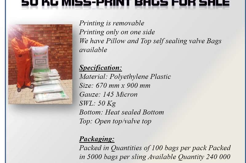 Packhouse equipment Packaging materials Quality NEW 50 Kg Bags (Mis prints)