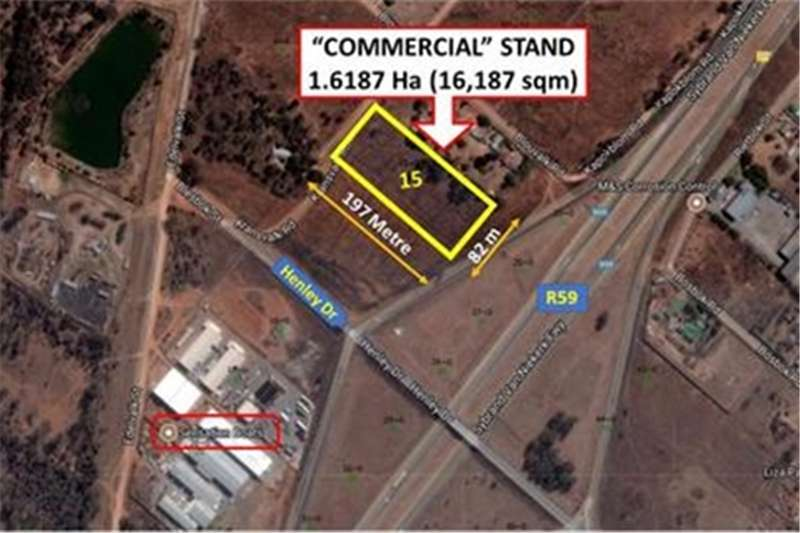 Property Vacant land 1.6 Ha COMMERCIAL STAND, ON R59 (@R150/SQM)