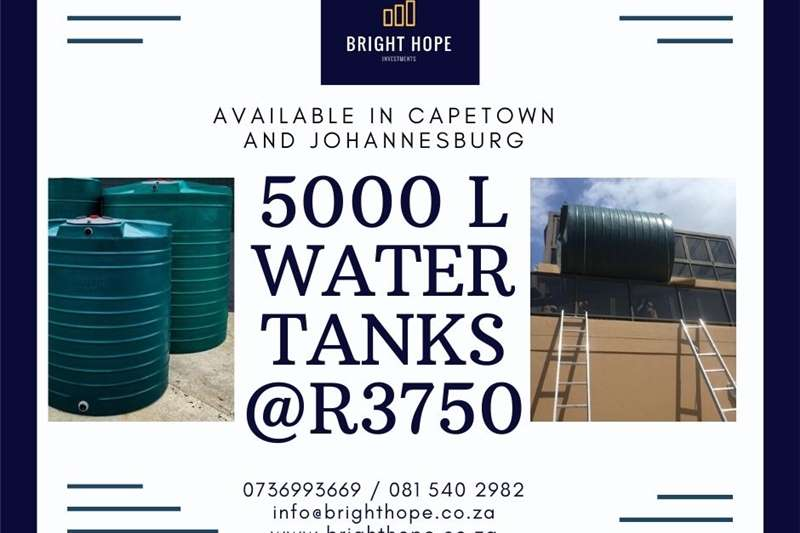 Structures and dams Water tank stands 5000 L WATER TANK AVAILABLE IN CAPE TOWN AND JOHAN