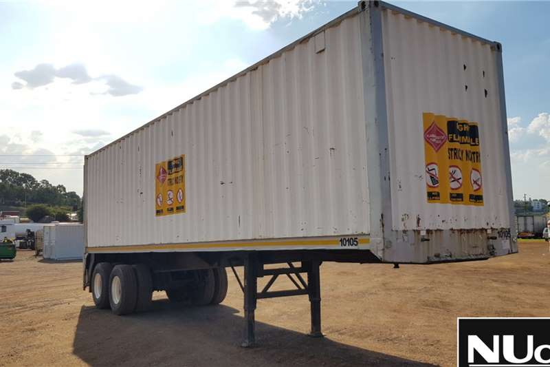 Homebuilt Trailers DOUBLE AXLE FLAT DECK TRAILER WITH CONTAINER