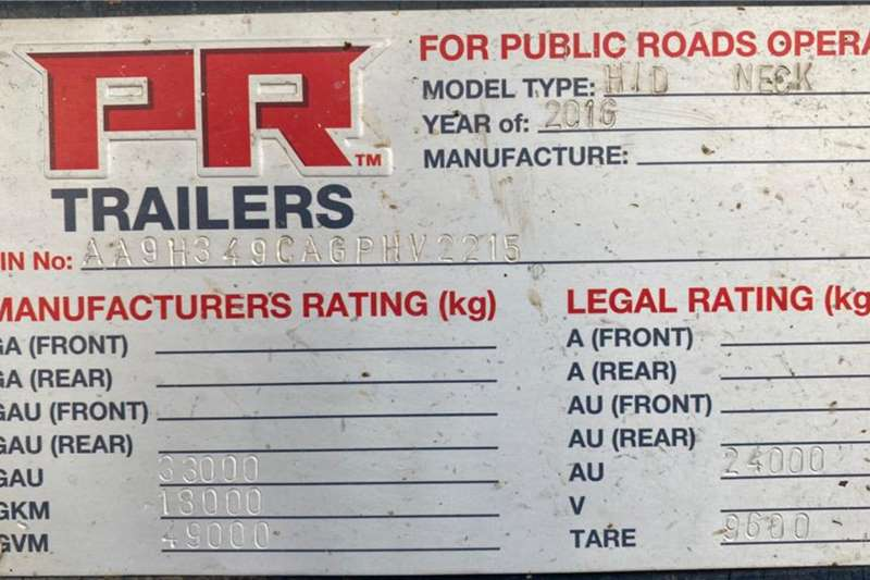 PR Trailers Goose neck 2017 PR Trailers Tri Axle Lowbed 35ton Detachable Trailers