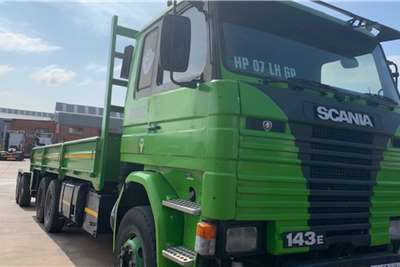 Scania SCANIA 143 E drop side body with dolly converter Dropside trucks