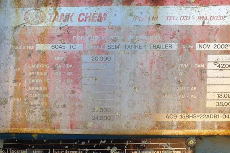 Tank Chem DOUBLE AXLE SEMI TANKER (LOC: DBN) Trailers