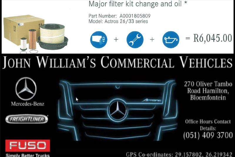 Truck Accessories MB Actros 26/33 Major Filter Kit & Oil 2019