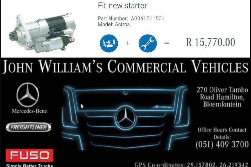 Truck accessories MB Actros Starter Remove and Replace 2019