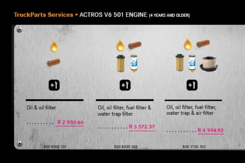 Truck accessories MB Actros V6 501 Engine Service Package