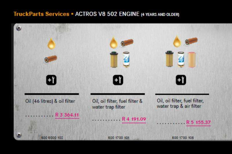 Truck accessories MB Actros V8 502  Engine Service Package