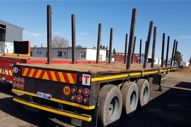 Zelna Flat deck Triaxle Container Locks, Pockets, Uprights Trailers